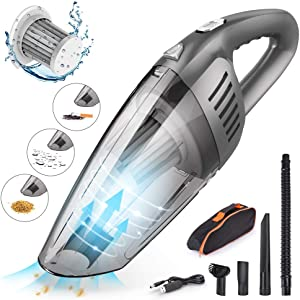 CCJK Handheld Car Vacuum Cleaner Cordless with 120W High Power,7000PA USB Charging Portable Auto Vacuum,Strong Aluminum Fan, HEPA Filter,Carry Bag, Wet/Dry Use for Car Home Pet Hair Office Cleaning