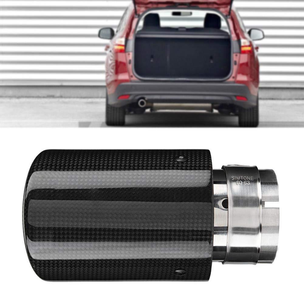 Hlyjoon Silenziatore di Scarico Car Modified Single Uscita Silenziatore Coda di Coda Gola in Fibra di Carbonio Silenziatore Silenziatore Terminale Aspiratore Coda Posteriore Silenziatore per 63-89mm