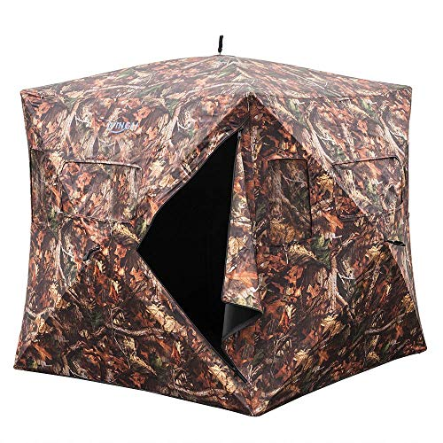 "(VINGLI 65""H Hunting Blind Ground Blinds,Pop Up Portable Hunt Box Blinds,Two-Person Hunt Tent Blind Skylight Camouflage Shooting Waterproof UV Protection Fiberglass Surround View Gauze)"