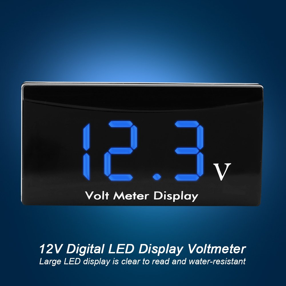 Blue Car Voltmeter Motorcycle Digital LED Display Voltmeter Voltage Volt Gauge Panel Meter 12V