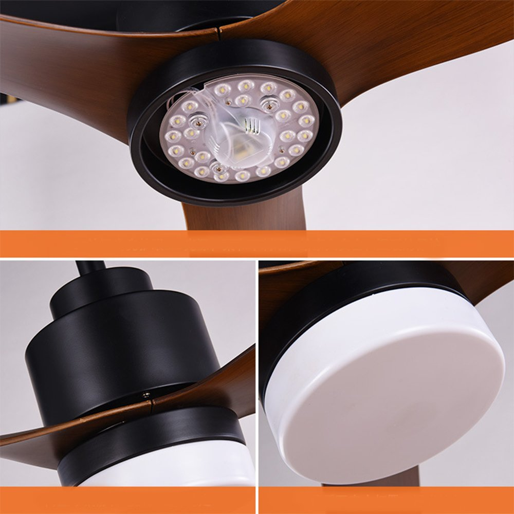 Europ/äische LED Schwarz Cartoon Holz Blatt Anh/änger Licht Fan Jahrgang Luxus Deckenventilator Lampenschirm Kinderzimmer Deckenventilator Mit Licht Fernbedienung