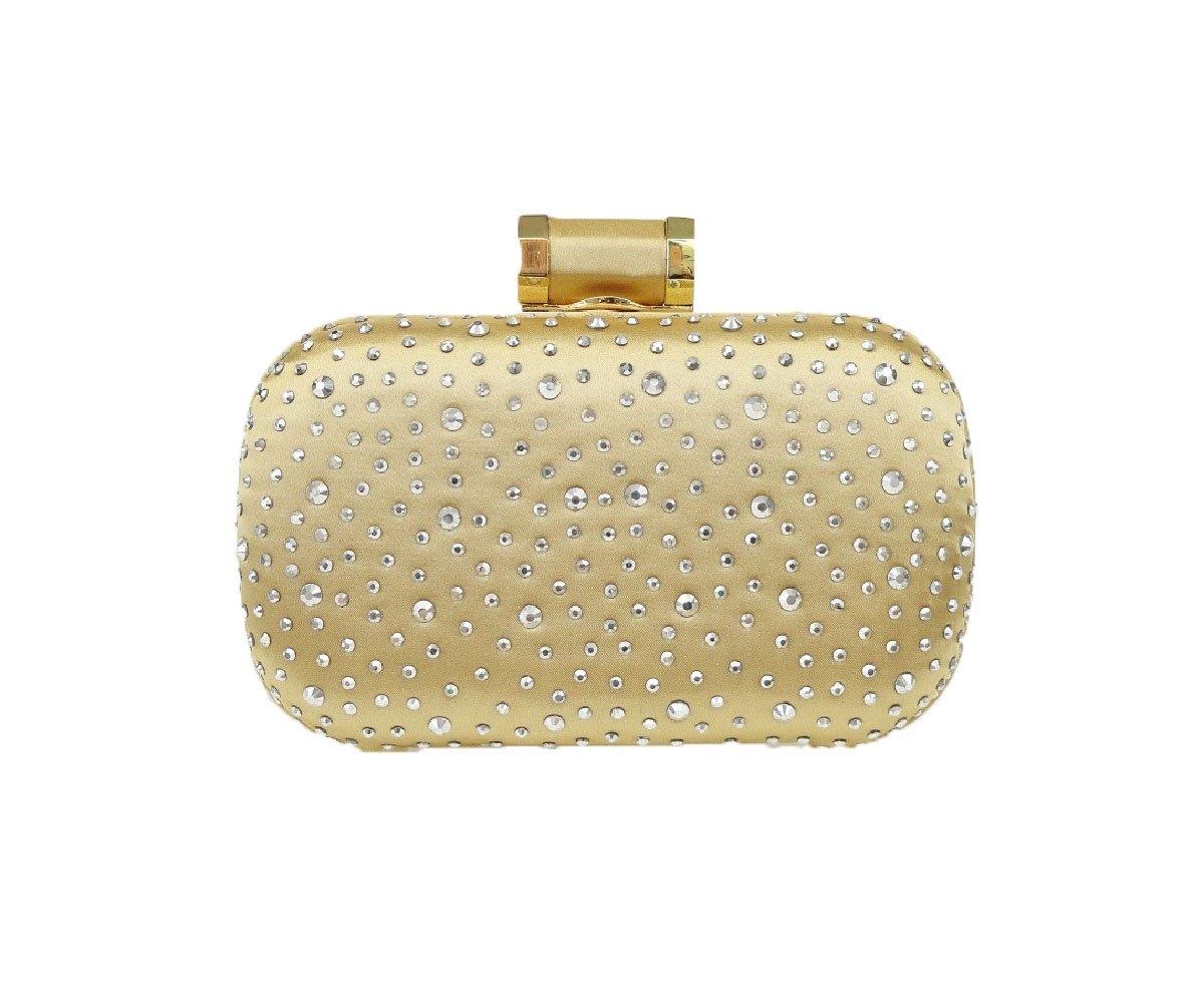 Hearty Trendy Diamond Crystal Glass Rhinestone Evening Bag Clutch Bag -CHAMPAGNE