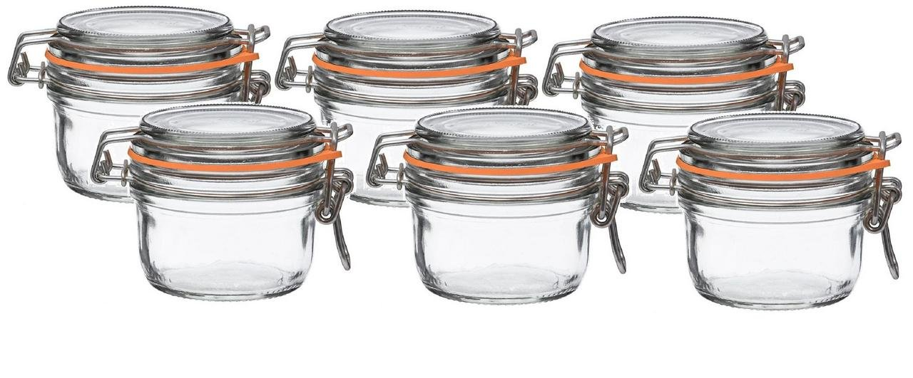 Le Parfait French Super Terrine Wide Mouth Jar - 125 Grams with 70 mm Gasket (Pack of 6) Home Naturals