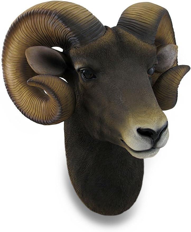 Zeckos Ram Head Bust Sculptural Wall Hanging