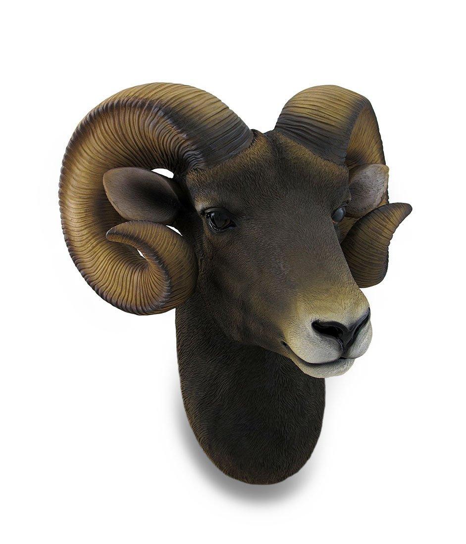 Zeckos Resin Wall Sculptures Ram Head Bust Sculptural Wall Hanging 14 X 15 X 9.5 Inches Brown