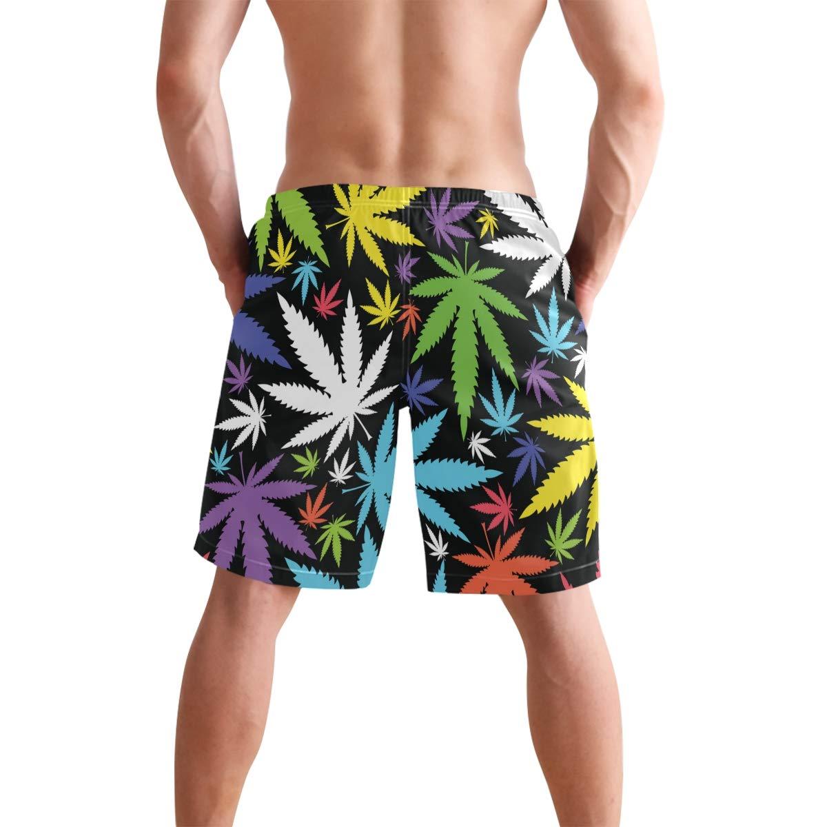 WIHVE Mens Swim Trunks Colorful Marijuana Leaves Quick Dry Beach Board Short with Mesh Lining