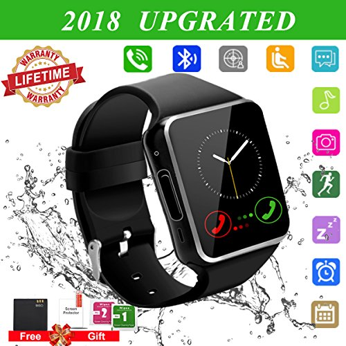 2018 Bluetooth Smart Watch for Andriod phones, iphone Smartwatch with Camera,Waterpfoof Watch Cell Phone ,Smart Wrist Watch Touchscreen for Android Samsung IOS Iphone X 87 6 5 Plus Men Women Youth by Luckymore