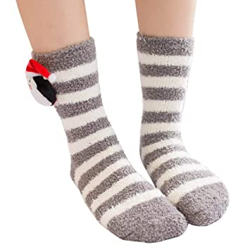 ce5bdba8986 Franterd Womens Girls Christmas Fluffy Fuzzy Socks Warm Coral Fleece Floor  Carpet Socks Elk Snowman Animal