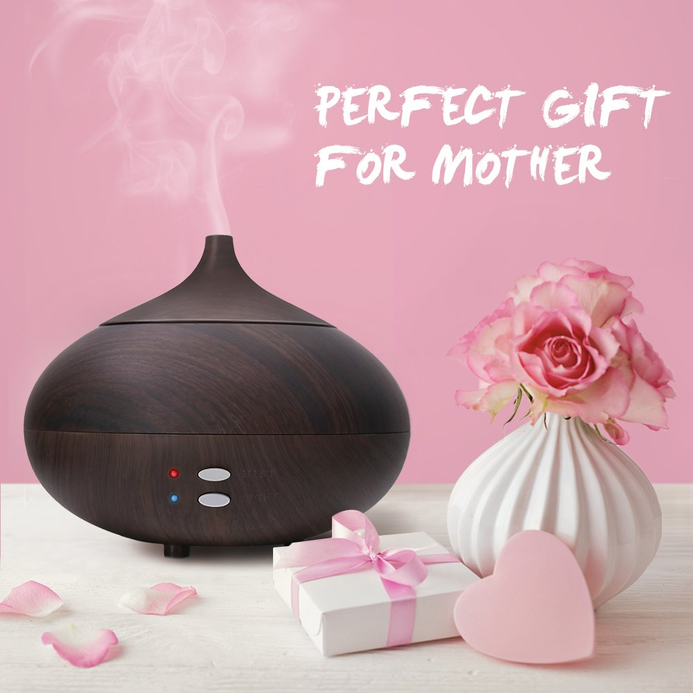 Afloia Aromatherapy Diffuser Eseential Oil Diffuser Ultrasonic Oil Diffuser Cool Mist Humidifiers 300ml Auto Shut-off Wood Diffuser Black