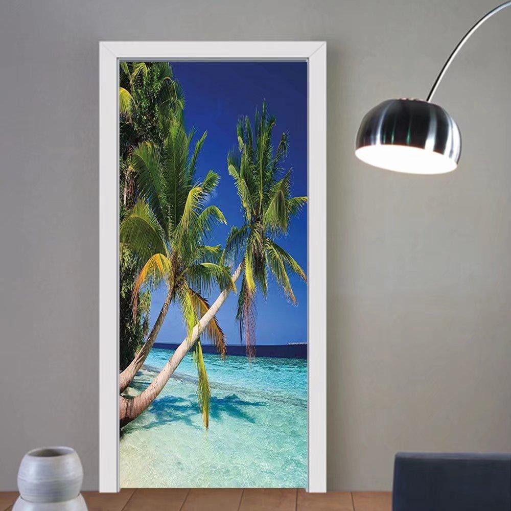 Gzhihine custom made 3d door stickers LaUIFcape Tropic Botanic Image with Coconut Palms near Ocean Sea Beach Photo Sky Blue Aqua Cream Green For Room Decor 30x79