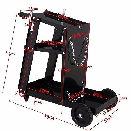 tinkertonk - Soldador carro carrito de soldadura MIG TIG ARC Plasma Cutter con pesado ruedas negro: Amazon.es: Bricolaje y herramientas