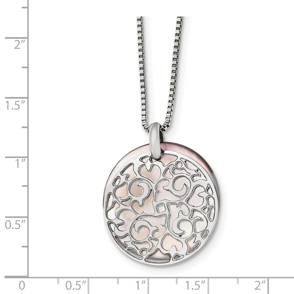 Saris and Things Stainless Steel Polished Mother of Pearl Pendant Necklace 18in