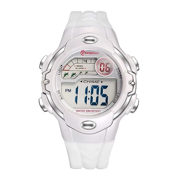 [Niño] Reloj Digital Niña Niño Impermeable multifunción Deportivo Reloj de Goma Pin Hebilla Correa -E: Amazon.es: Relojes
