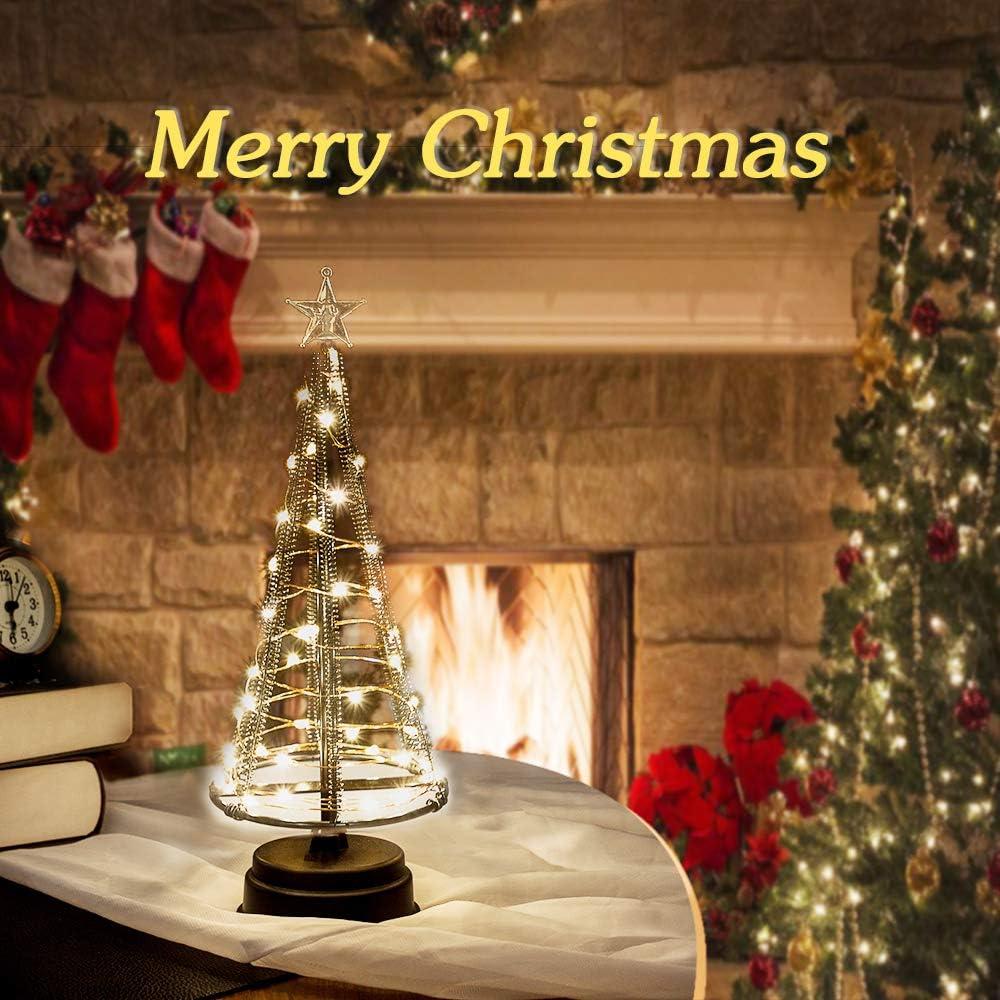 HONESTY Santa's Tree,XS Black Mini Weihnachtsbaum Tree 40 warmweiße LEDs auf Kupferdraht, mit Ladedatenleitung , Tischlampe & schönen Dekorationen für Ihre Zimmer, 260mm Hoch
