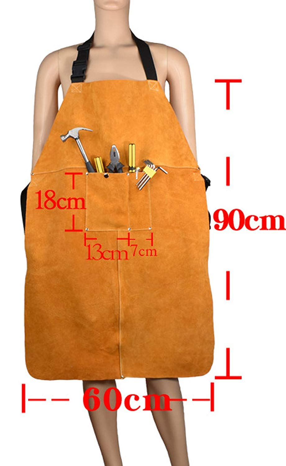 Leather Welding Apron Blacksmith Apron, Heavy Duty Flame Retardant Welder Work Apron, Unisex Adjustable Work Shop Protective Clothing, Carpentry, Torch Work, Roofing, Woodworking DHWQ03 by QEES (Image #2)