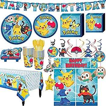 Party City Pokemon Core Birthday Kit Includes Happy Banner Decorations Serves