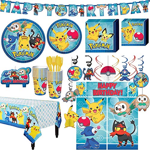 Party City Pokemon Core Birthday Party Kit, Includes Happy Birthday Banner & Decorations, Serves 16