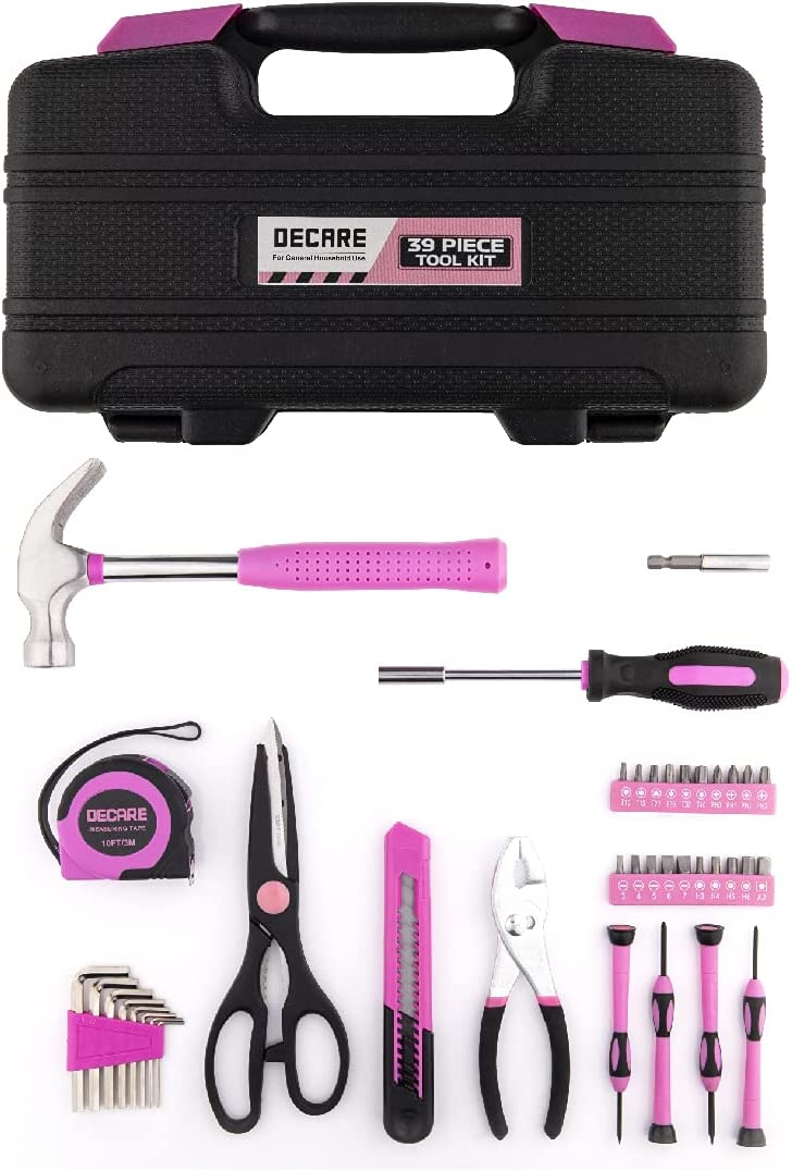 Decare Pink Tool Kit Set 39 Piece Home Basic Tools with Plastic Toolbox Storage Case Includes Screwdriver Hammer Pliers Scissors Tape Measure (Pink)