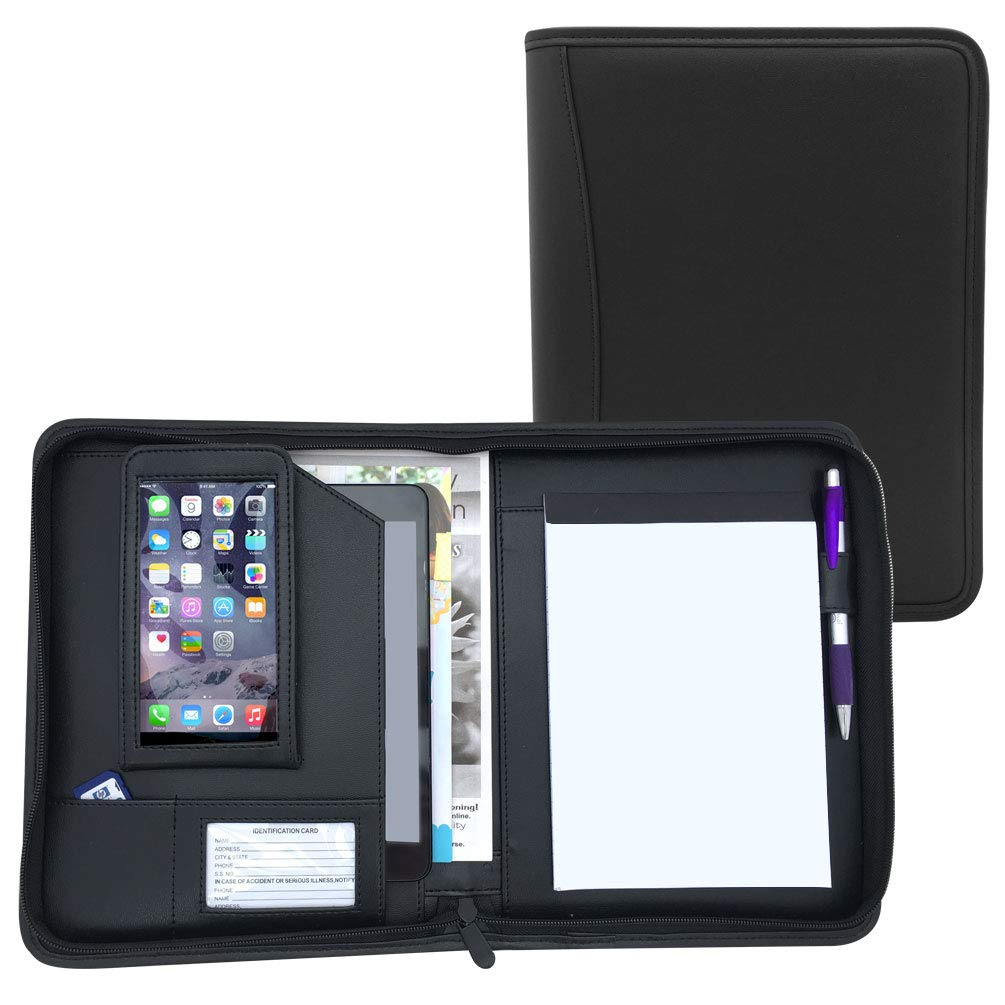 Small Black Zippered Business Padfolio with Junior Notepad- PU Leather Portfolio Binder with Phone Case and 8'' Tablet Holder (MSP-100BK)