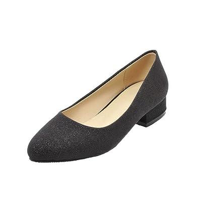 AgooLar Damen Rund Zehe Ziehen auf Rein Low-Heels Pumps Schuhe  Schwarz