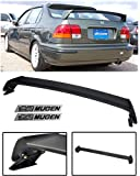 VXMOTOR for 1996-2000 Honda Civic 4 Door 4DR Sedan Mugen Style ABS Plastic Rear Trunk Lip Wing Spoiler + Black Emblems