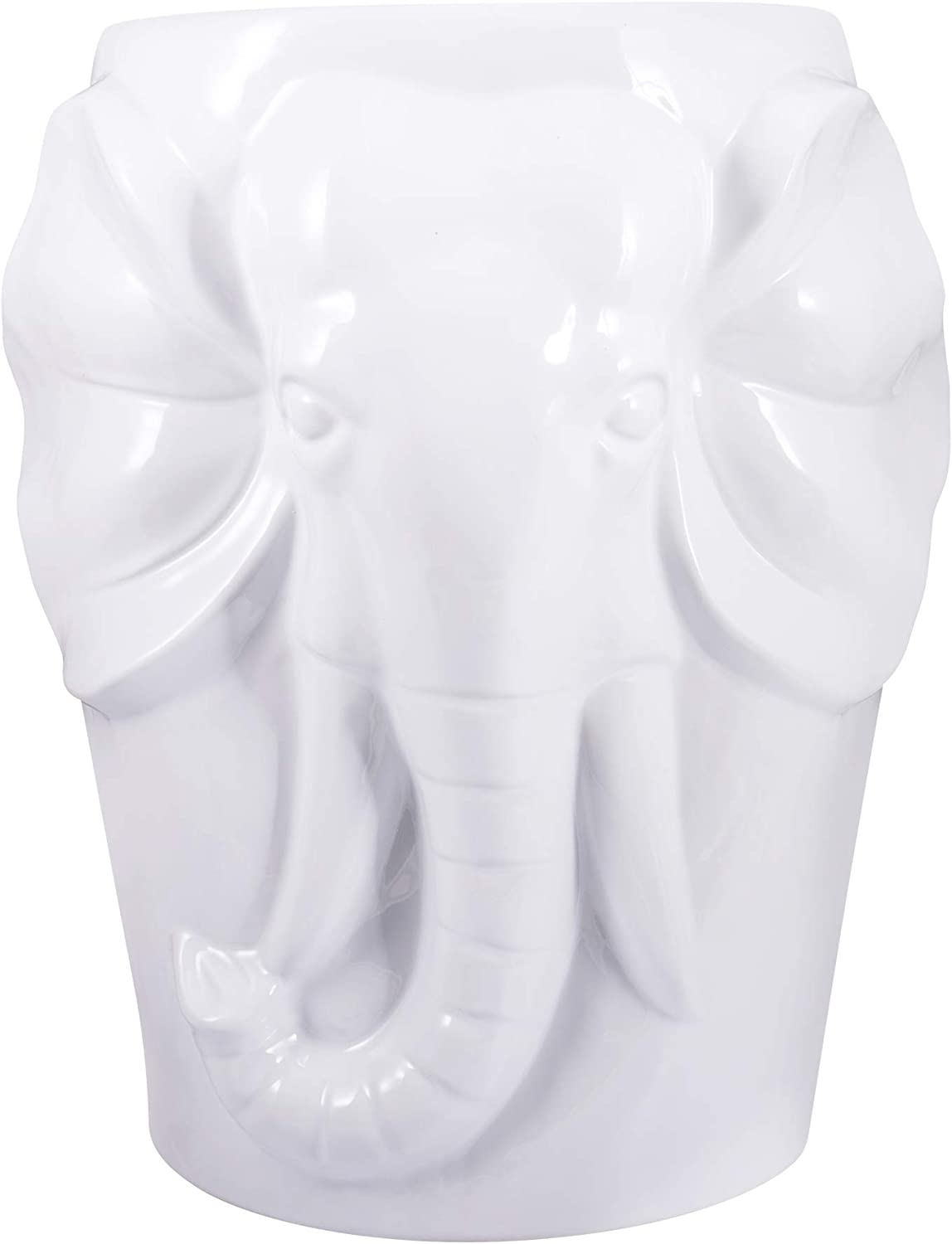 fanquare Elephant Ceramic Decorative Garden Stool,Animal Stool,White,17""