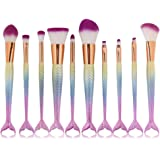 CINIDY 10pcs Mermaid Makeup Brush Set Synthetic Kabuki Foundation Blending Blush Eyeliner Face Powder Brush Makeup Brush Kit Beauty Cosmetic Tools