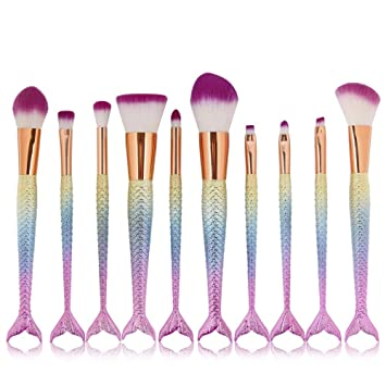 331dc2c3c15 Amazon.com: CINIDY 10pcs Mermaid Makeup Brush Set Synthetic Kabuki Foundation  Blending Blush Eyeliner Face Powder Brush Makeup Brush Kit Beauty Cosmetic  ...