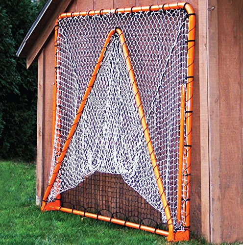 EZGoal 87615 EZ Goal Official Regulation Folding Metal Lacrosse Goal with Throwback Kit - 6' x 6' – On Goal Net)