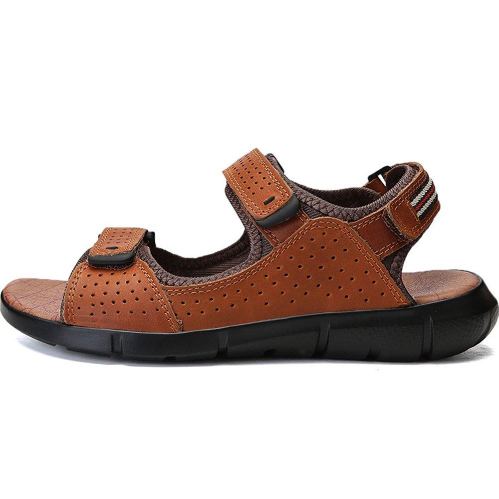 Sandalias Respirables de Cuero Ocasionales de los Hombres del Dedo del pie Abierto Sandalias de Playa Ajustables Antideslizantes del Verano 40 2/3 EU|Light Brown