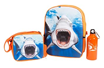 Amazon.com  ComputerGear School 3D Shark Backpack Lunch Box Lunchbox ... cd4395d78a136