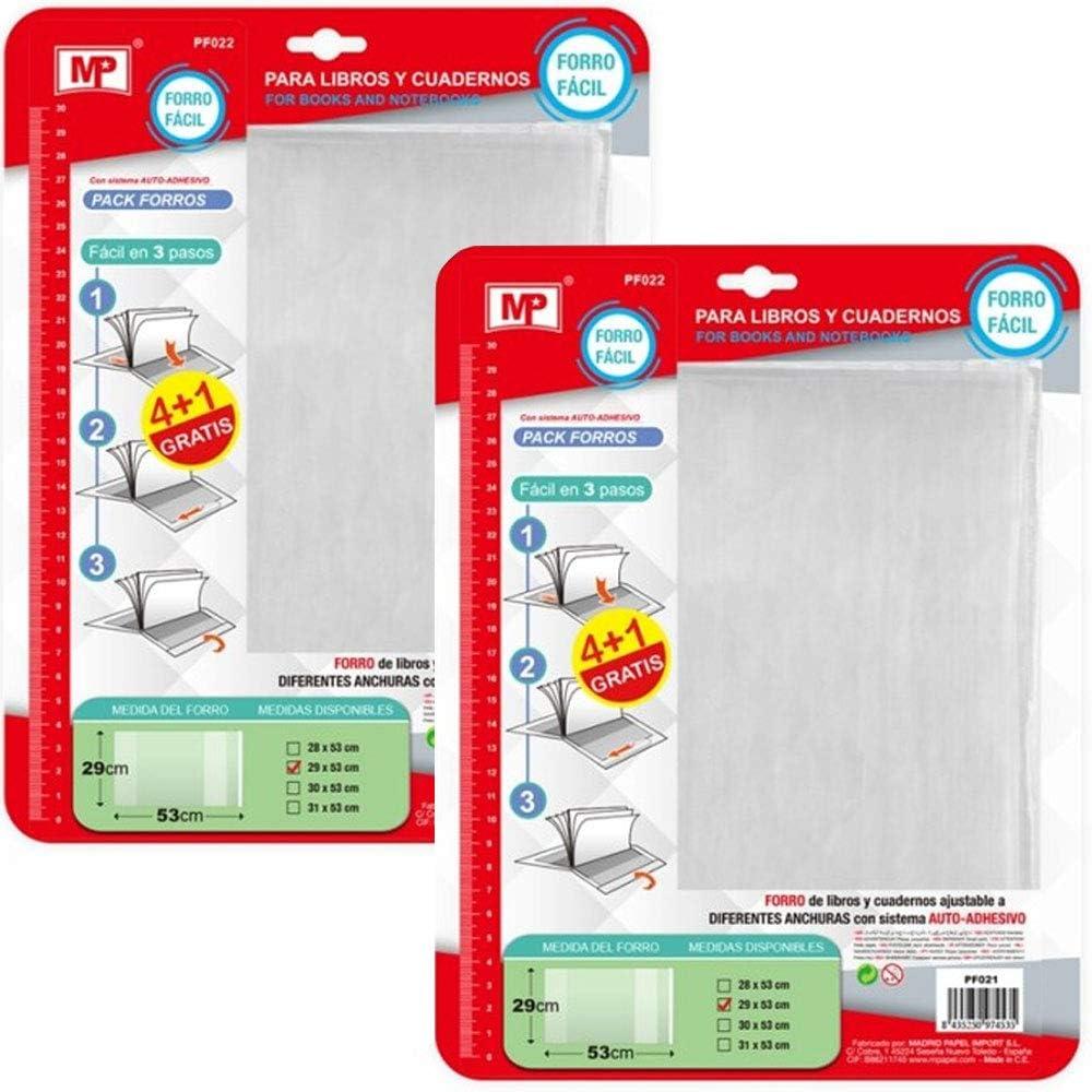 Pack 10 Forro para Libros Ajustable Forro para Libros Autoadhesivo 29x53cm (PF022): Amazon.es: Juguetes y juegos