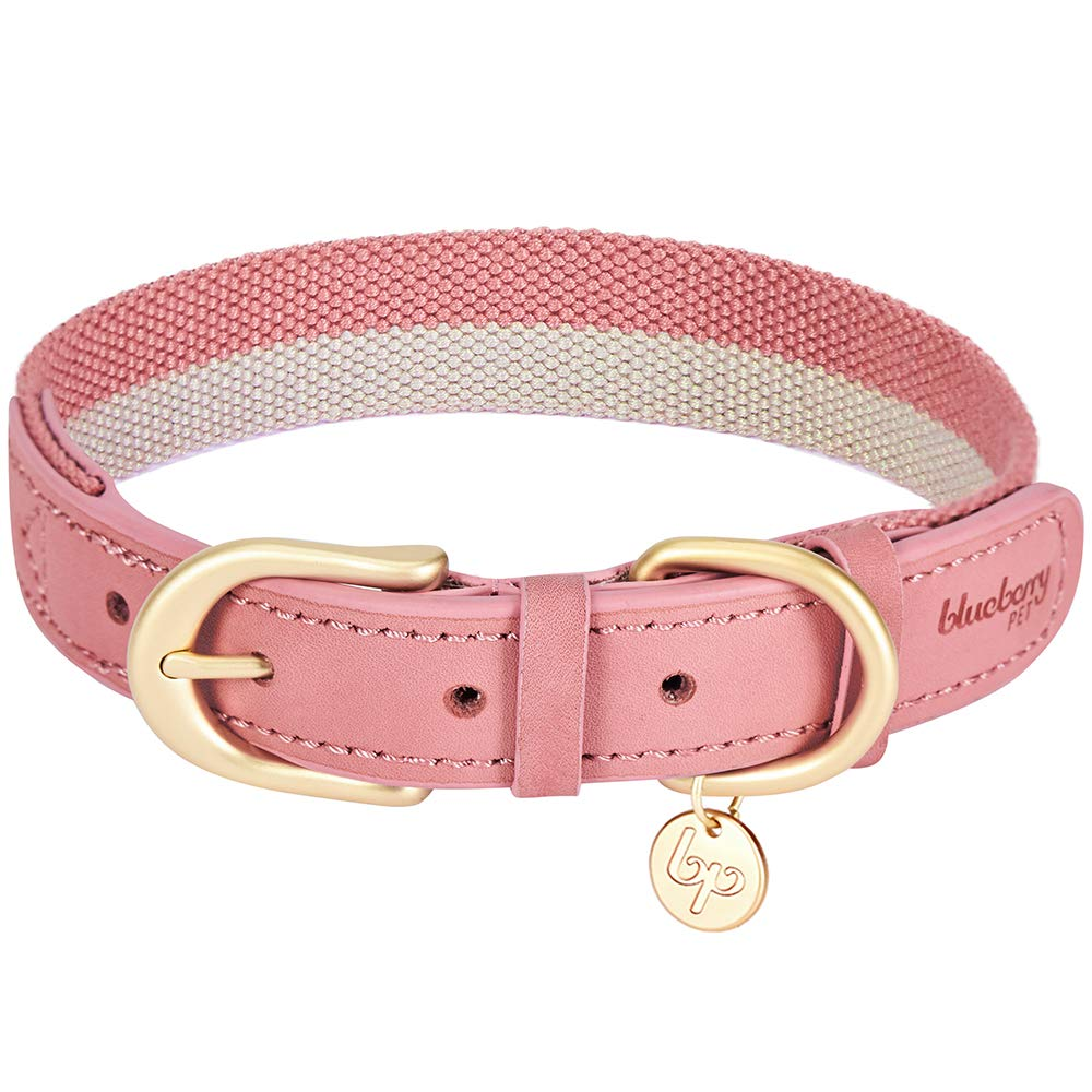 Blueberry Pet 8 Colors Polyester Fabric Webbing and Soft Genuine Leather Dog Collar in Pink and Grey, Medium, Neck 15''-18'', Adjustable Collars for Dogs