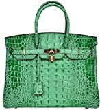 Cherish Kiss Women's Luxury Embossed Crocodile Leather Tote Office Padlock Handbags (35CM, Green)