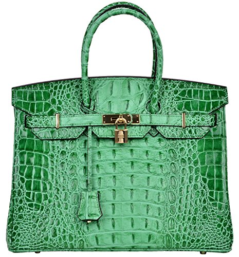 35 Birkin Bag - Cherish Kiss Women's Luxury Embossed Crocodile Leather Tote Office Padlock Handbags (35CM, Green)