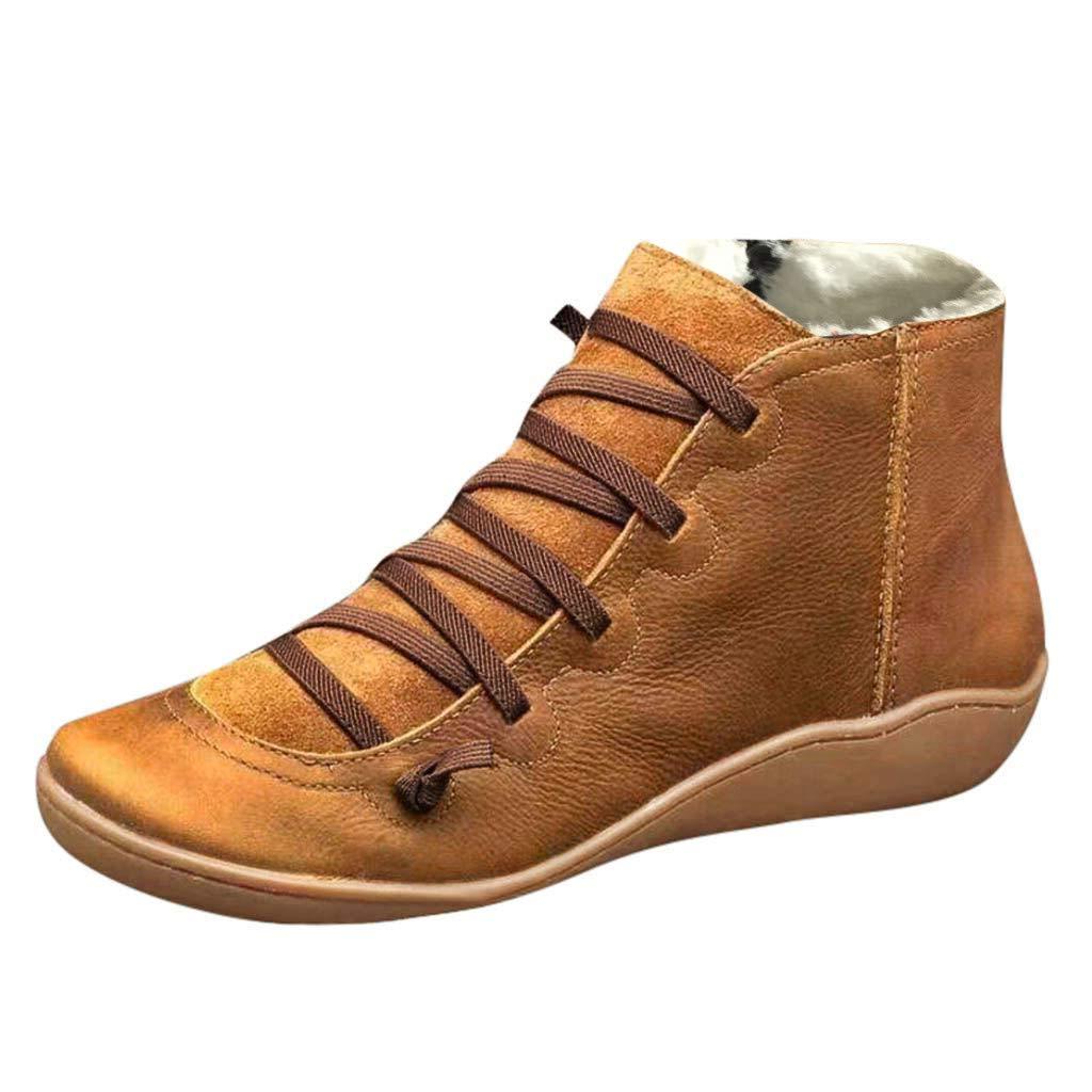 SSUPLYMY Frauen Retro Lederstiefel Seitlicher Reißverschluss Kurze Stiefel Winter Plus Samt Warme Booties Casual Flache Stiefeletten rutschfeste Schnürstiefel