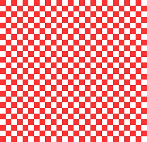 Wax Paper Food Basket Liners - Deli/BBQ Sandwich Wrap - Red/White Checkered - 50 Square Sheets