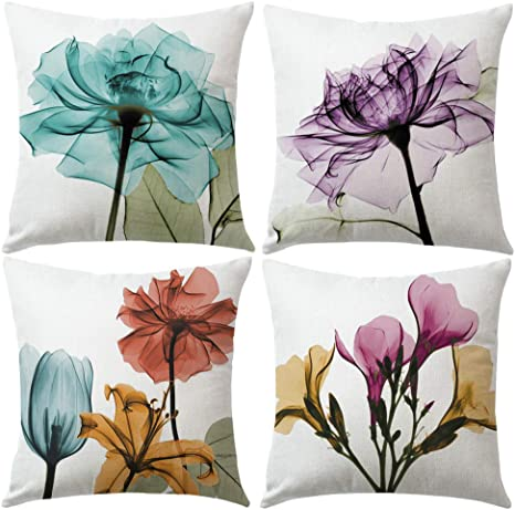Amazon Com Ulove Love Yourself Tulips Throw Pillow Cover Multicolor Flowers Home Decorative Pillowcases Art Painting Floral Cushion Covers 18 18 4pack For Couch Sofa Bed Patio Car Tulips Home Kitchen