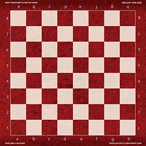 US Chess Federation Red Leather - Full Color Vinyl Chess Board by Wild Style Boards