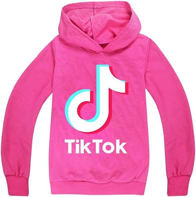 Black, 7-8years Girl TIK Tok Hoodies Outdoor Sport Sweatshirt Unisex Kids Clothes Outerwear