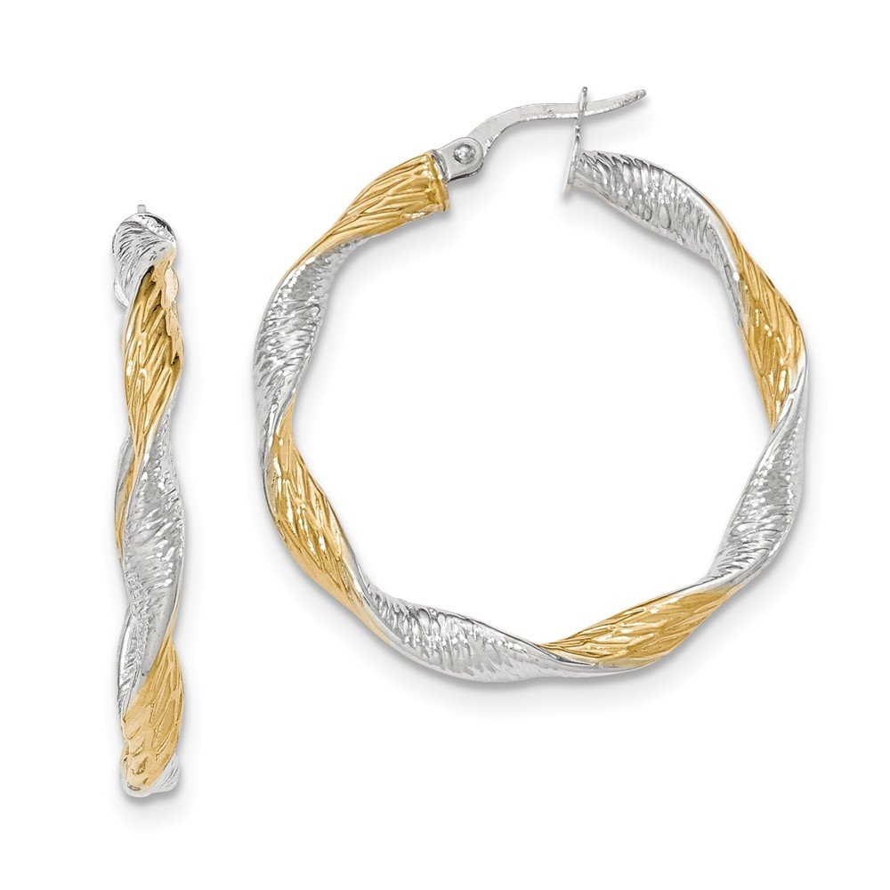 Mia Diamonds 14K White Gold with Yellow Rhodium Textured Twisted Hoop Earrings