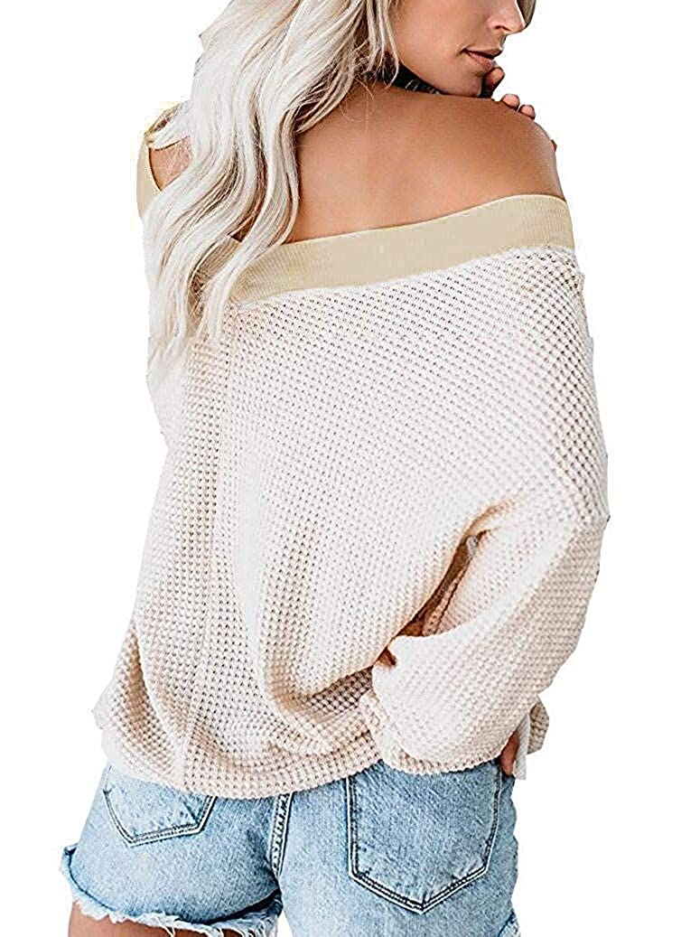 Yidarton Womens Jumper Casual V Neck Pullover Cozy Waffle Sweater Knitted Batwing Sleeve Sweatshirts Tops