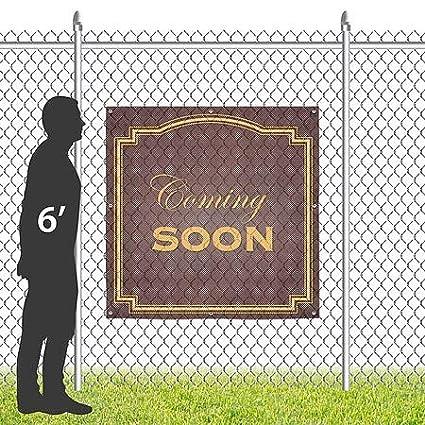 8x8 CGSignLab Coming Soon Classic Brown Wind-Resistant Outdoor Mesh Vinyl Banner