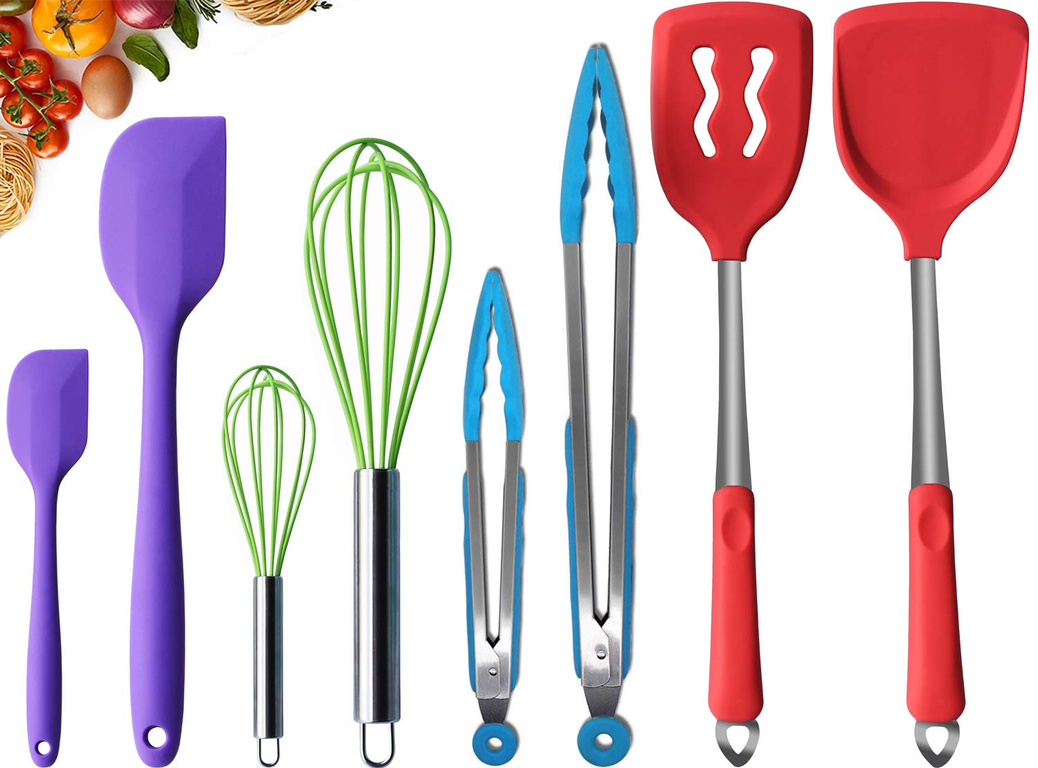 Kitchen Utensil Set Durable 8 Cooking Utensils Nonstick Silicone and Stainless Steel Utensils BPA-free Non Toxic Spatula Serving Tongs Turner Whisk Set Best Chef Kitchen Tool Set by TWICHAN