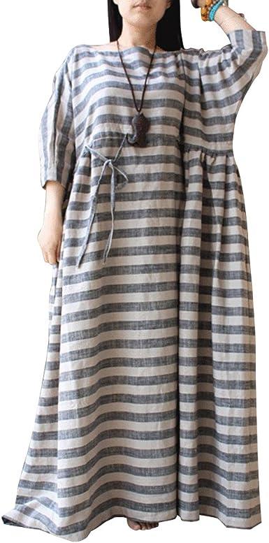 Womens Stripes Dress Linen and Cotton Dress BELLEFILLES Plus Size Dress