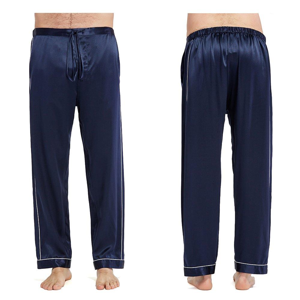 LilySilk Silk Pajamas Set For Men Summer 22 Momme Most Comfortable Sleepwear Navy Blue L by LilySilk (Image #8)