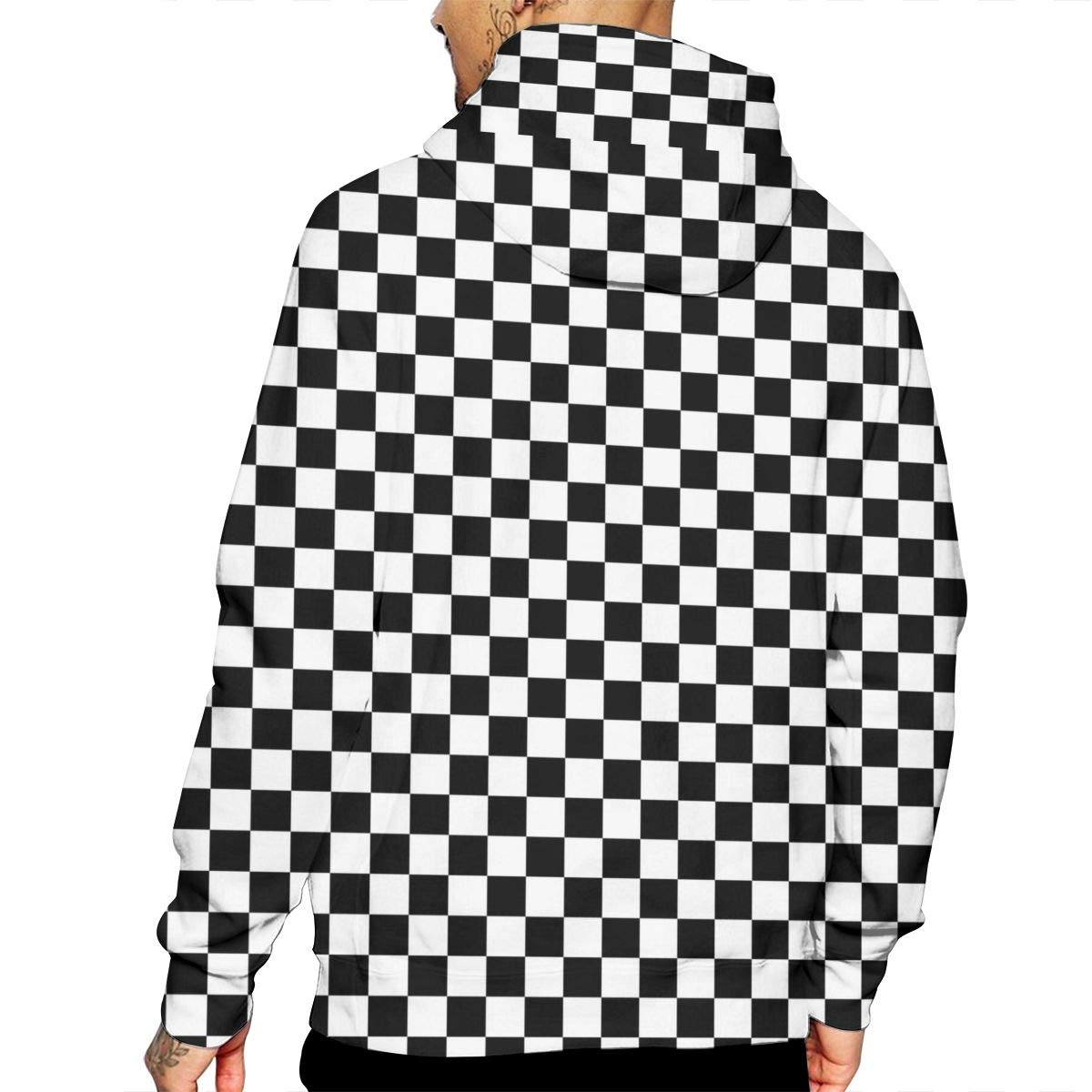 Black Checkered T-Shirt Hooded with A Pocket Rope Hat Customization Fashion Novelty 3D Mens