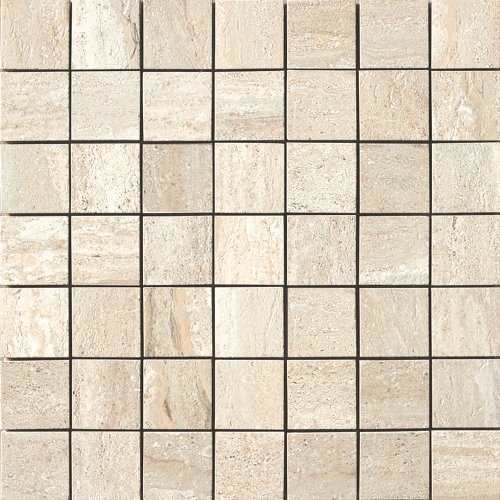 Samson 1037075 Travertini Matte 2X2 Mosaic Floor and Wall Tile, 17X17-Inch, Beige, ()