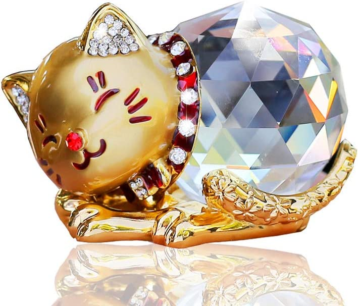 LEIWOOR Car Decoration - Crystal Maneki Neko Lucky Cat Figurine for Wedding,Birthday,Car and Home Decoration Furnishing Article Gift Box (Gold)