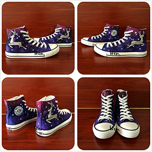 Wen Original Design Hand Painted Shoes Deer Galaxy Unisex Purple Canvas Sneakers a0gVtxaQ